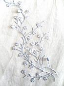 """Iron on Embroidered Applique Silver Metallic Floral Vine 13"""" (GB481)"""