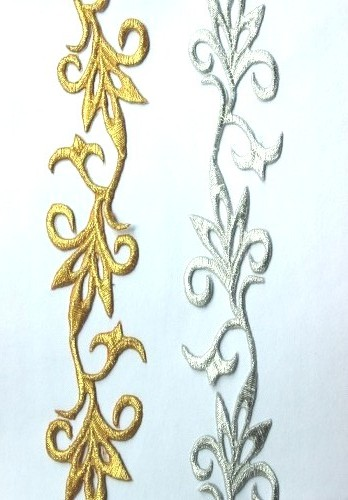GB109 Embroidered Trim Silver Scroll Metallic Iron On 1.5""
