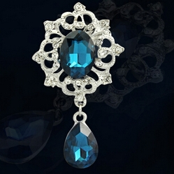 GB200 Bridal Brooch Deep Turquoise Blue Rhinestone Silver Metal Pin Vintage