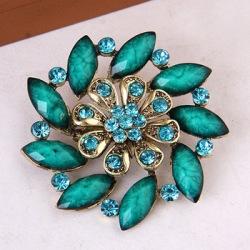 "GB248 Turquoise Glass Rhinestone Brooch Pin Gold 2.5"""