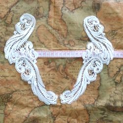GB250 Mirror Pair White Scroll Bridal Embroidered Appliques 9.5""