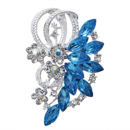 GB268 Bridal Brooch Turquoise Blue Rhinestone Silver Metal Pin