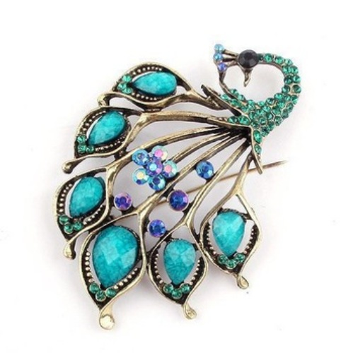 "GB31 Turquoise Vintage Peacock Rhinestone Brooch Pin 2.75"""