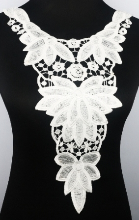 GB312 Large Applique White Venise Lace Bodice Yoke Motif 20""
