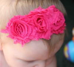 GB7 Chic Triple Shabby Frayed flower Headbands SKINNY Headband 8 Colors Available