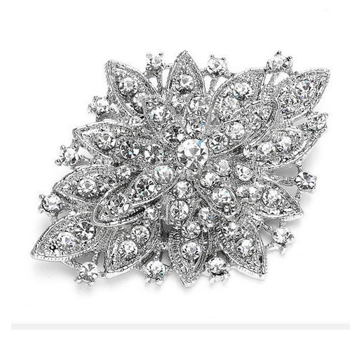 GB80  Bridal Rhinestone Brooch Pin Vintage Silver Crystal Glass 2.5\