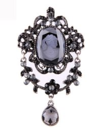 GB147 Cameo Brooch or Pendant Rhinestone Dangle Victorian Gray Glory