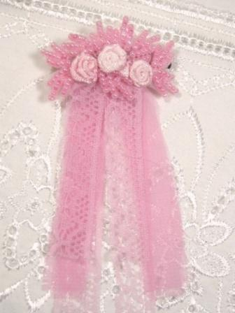 HB6  Pastel Pink Beaded Lace Hair bow