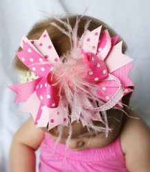 GB23 Boutique Feather Stacked Hair Bow Clip