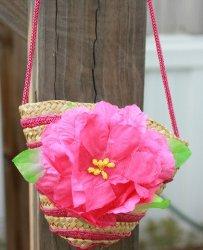 GB15 Little Girl's Small Purse Wicker Weaved Flower Purse
