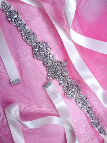 "JB232 Ivory Ribbon Bridal Sash Motif Silver Crystal Clear Glass Rhinestone Applique 13.75"""