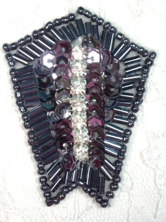 "0482 Gunmetal Rhinestone 2.25"" Sequin Beaded Applique"