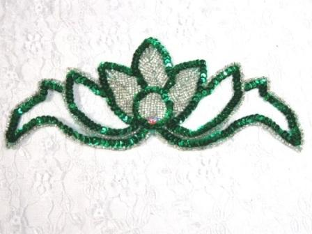 K8143  Green Rhinestone  Beaded Sequin Applique 7.25&quot;