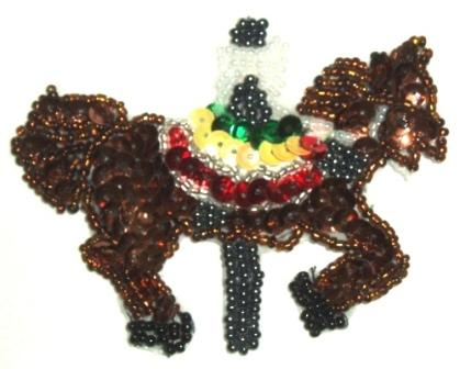 LC289  Brown Carousel Horse Sequin Beaded Applique 3.25""