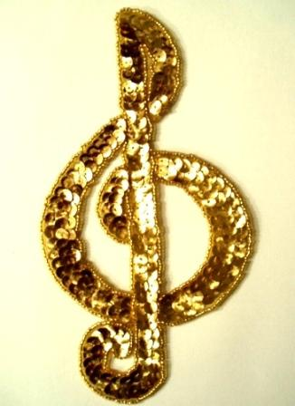 """LC4  Gold Musical Note G Clef Sequin Beaded Applique 7"""""""