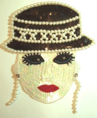 LC60 Lady with Hat Sequin Beaded Applique 8""