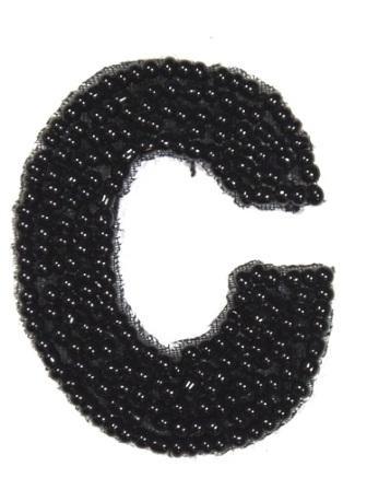 """K1  Black Beaded Letter ( C ) Applique  1.75"""""""