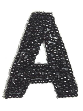 "K1  Black Beaded Letter ( A ) Applique  1.75"""