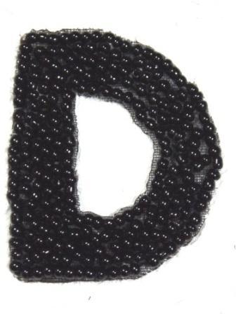 """K1  Black Beaded Letter ( D ) Applique  1.75"""""""