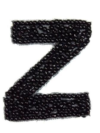 """K1  Black Beaded Letter ( Z ) Applique  1.75"""""""