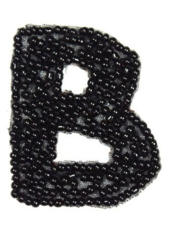 """K1  Black Beaded Letter ( B ) Applique  1.75"""""""
