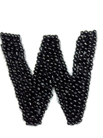 """K1  Black Beaded Letter ( W ) Applique  1.75"""""""