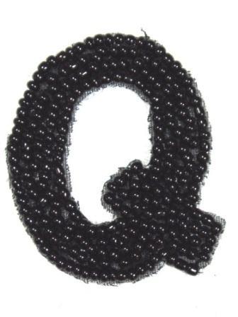 """K1  Black Beaded Letter ( Q ) Applique  1.75"""""""