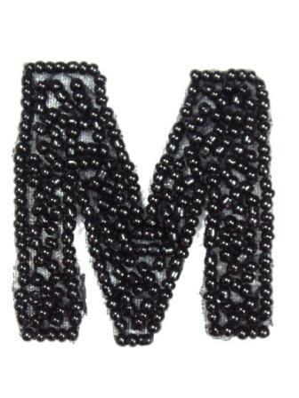 """K1  Black Beaded Letter ( M ) Applique  1.75"""""""