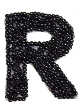 """K1  Black Beaded Letter ( R ) Applique  1.75"""""""