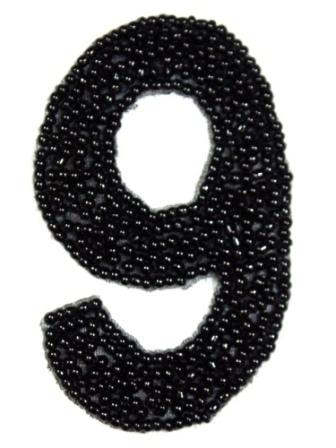 """K4  Black Beaded Number ( 9 ) Applique  2.5"""""""
