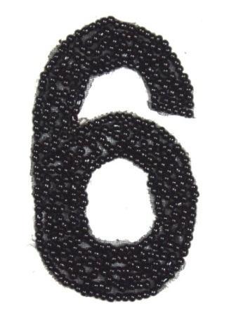 """K4  Black Beaded Number ( 6 ) Applique  2.5"""""""