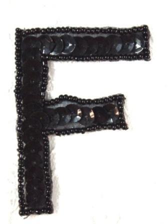"K2  Black Sequin Letter ( F ) Applique  2.75"""