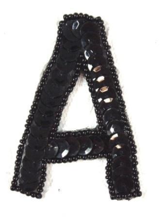 """K2  Black Sequin Letter ( A ) Applique  2.75"""""""