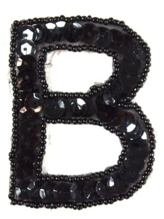 "K2  Black Sequin Letter ( B ) Applique  2.75"""