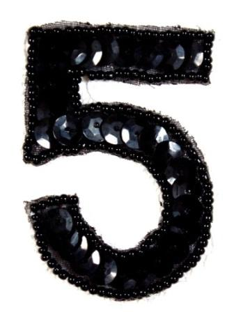 K3  Black Sequin Number ( 5 ) Applique  2.5""