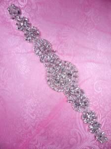 "MS108 Crystal Rhinestone Pearl Applique Bridal Sash Motif Glass 12"""