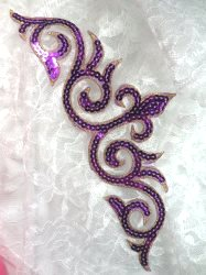 GB105 Purple Gold Sequin Applique Iron On Patch 9.25""
