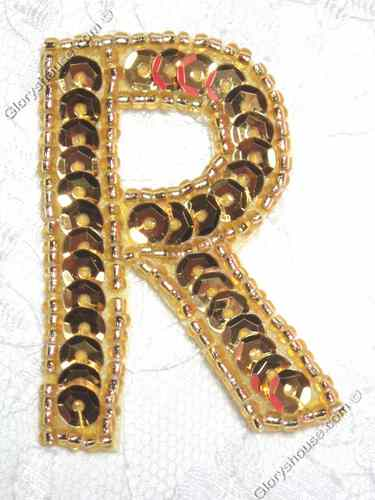 0464  Gold Letter ( R ) Sequin Beaded Applique  2""