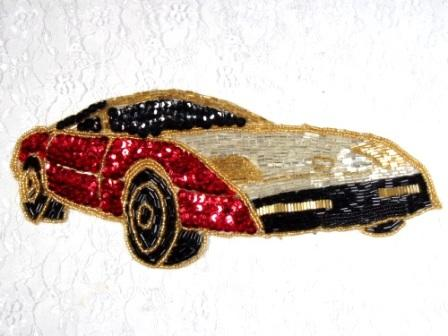 L  Red Corvette Car Sequin Beaded Applique 10""
