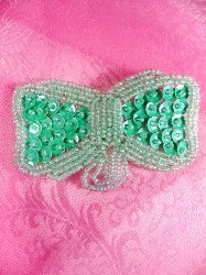 SA123 Beaded Sequin Bow Green Applique