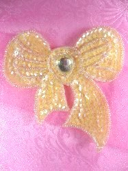 SA124 Beaded Sequin Bow Yellow Applique