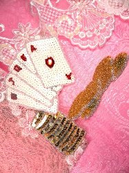 SA130 Beaded Sequin Applique Playing Cards 6""