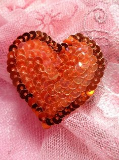 SA72 REDUCED Red Pink Sequin Heart Applique 1.5""