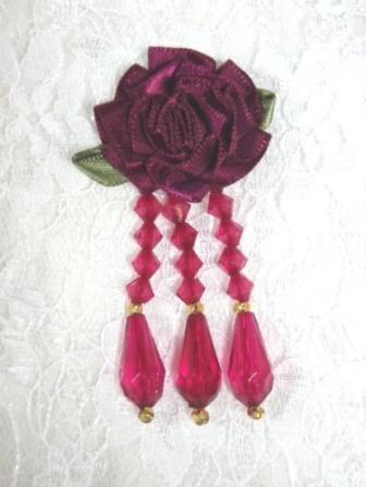 """VD1 Burgundy Floral Dangle Beaded Applique 2.75"""""""