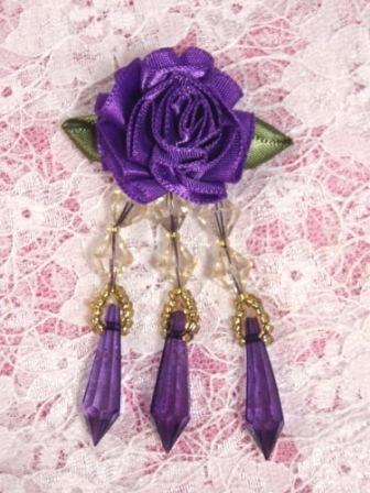 """VD2  Purple Floral Dangle Beaded Applique 3"""""""