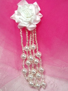 VD26  Floral White Pearl Dangle Beaded Applique 4.5""