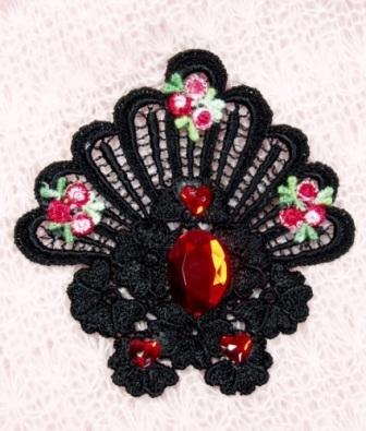 VG43   Black Red Heart Jewel Venise Lace Applique 4""
