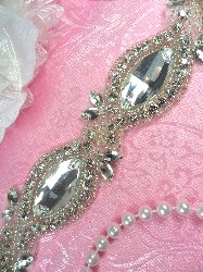 XR280 Crystal Rhinestone Silver Beaded Bridal Trim 1.25""