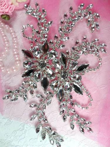 """XR83  Silver Crystal Clear Rhinestone Applique Embellishment 9"""""""