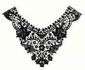 """Bodice Applique Embroidered Yoke Collar Neckline Lace Motif Black 12"""" (Y17)"""